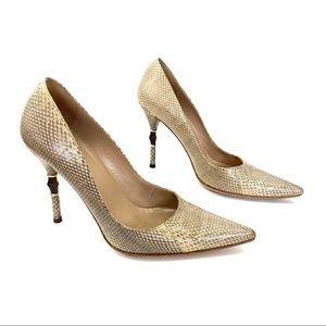 Gucci Beige Snakeskin Leather Bamboo Heels Pumps